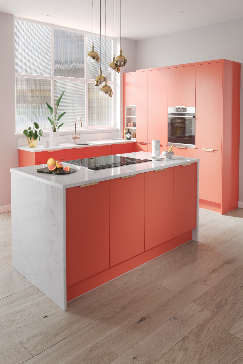 Colourful kitchen island