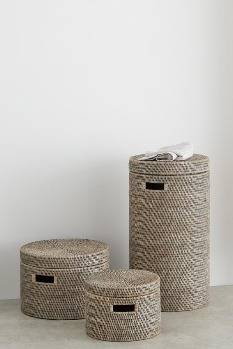 Rattan storage boxes