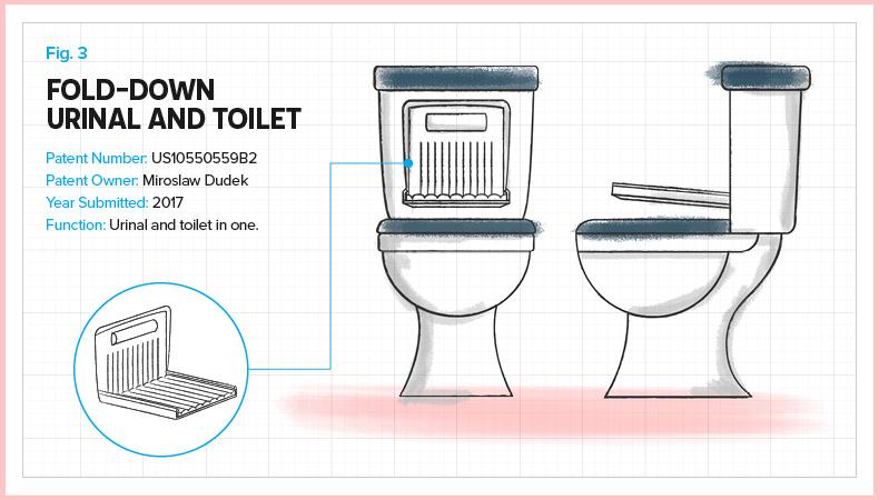 Fold-down urinal