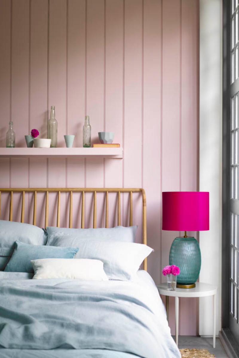 Pink wall panelling