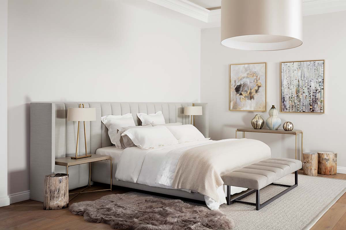 Relaxing bedroom scheme fluted headboard