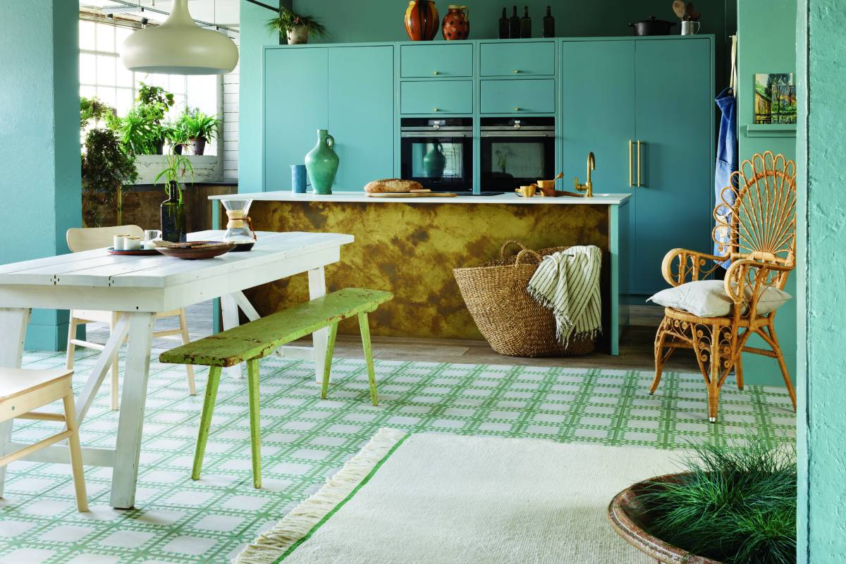 Different flooring solutions open-plan space