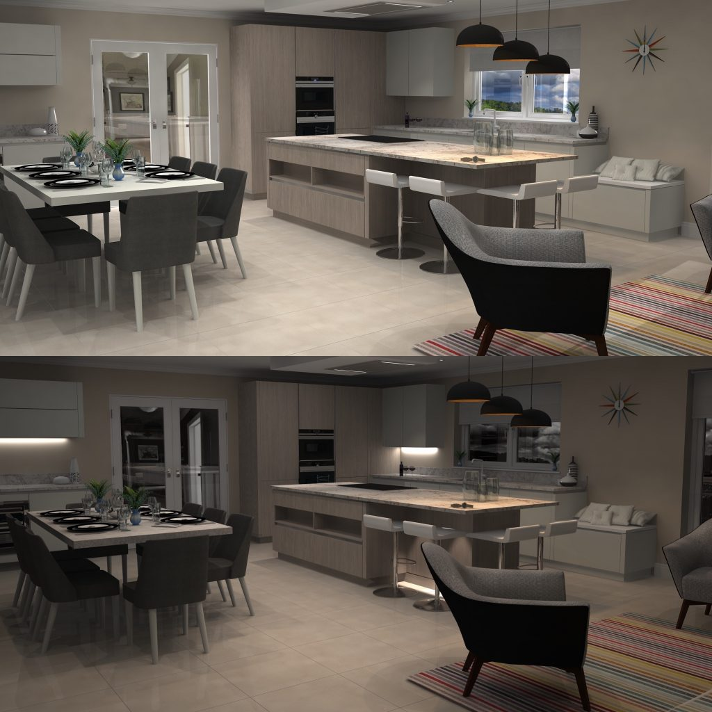 Virtual Worlds allows you to see your kitchen in both day and night time settings.